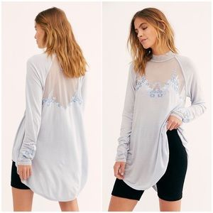 FREE PEOPLE Saheli Sheer Embroidered Tunic Top XS
